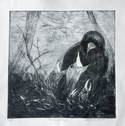 The Song of Hunger Dry point etching
